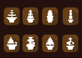 Chocolate Fountain Icon Set Free Vector - vector gratuit #427463