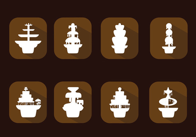 Chocolate Fountain Icon Set Free Vector - Free vector #427463