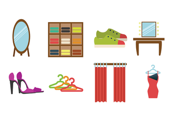 Dressing Room Flat Icon Vectors - Free vector #427473