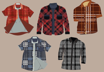 Flannel Pattern Shirt Vector Pack - vector gratuit #427483