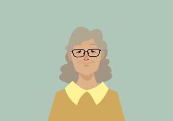 Headshot of Smiling Old Women Vector - Free vector #427493