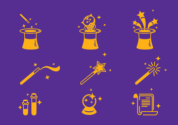 Magician Icon Set Vector - Free vector #427513