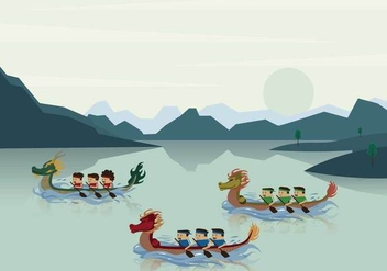 Dragon Boat Race in River Illustration - Free vector #427683