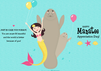 Cute Manatee Appreciation Day Vector Card - Free vector #427713