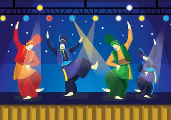 Bhangra Dancers On Stage Vector - Free vector #427733