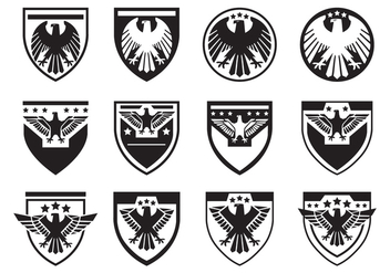 Black Eagle Seal Symbol Vector Set - Free vector #427783