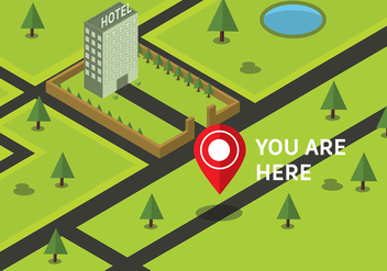 Free Isometric You Are Here Map Vector - Free vector #428123
