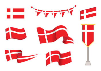 Danish Flag Vector - Free vector #428133