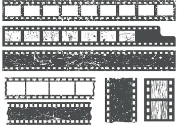 Free Film Strips WIth Grain Texture Vector - vector gratuit #428143