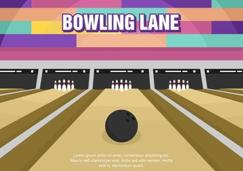 Bright Fun Bowling Lane Vector - Free vector #428223