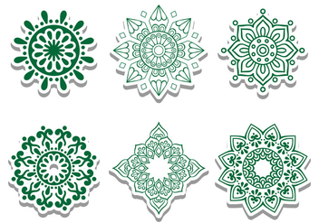 Green Arabian Circle Vector Ornaments - Kostenloses vector #428263