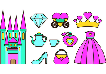 Set Of Princesa Icons - Free vector #428273