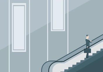 A Businessman on The Escalator - vector gratuit #428283