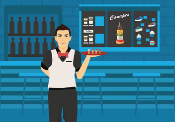 Man Waiter Serving Canapes Vector Illustration - Free vector #428323