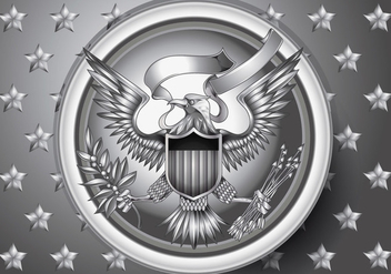 American Eagle Emblem with Silver Effect Vecto r - vector #428343 gratis