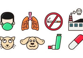 Set Of Asthma Icons - Free vector #428363
