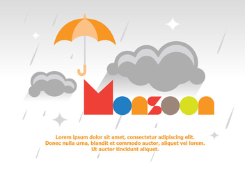 Bright Fun Monsoon Poster Vector - Free vector #428413