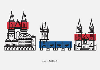 Prague Landmark Vector Icon Pack - vector #428443 gratis