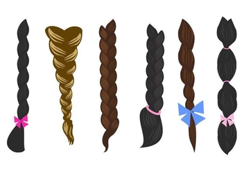 Free Hair Plait Icons Vector - Free vector #428523