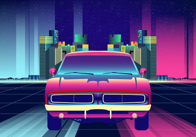 Neon Nights Dodge Charger Car Vector - Kostenloses vector #428573