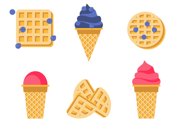 Waffle Cones With Ice Cream - vector gratuit #428583
