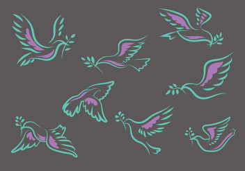 Flying Dove or Paloma Hand Drawn Set Vector Illustration - Free vector #428593