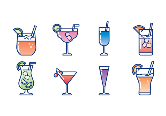Glass of Cocktail Icon Set - Free vector #428603