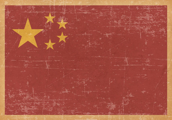 China Flag on Old Grunge Background - бесплатный vector #428623
