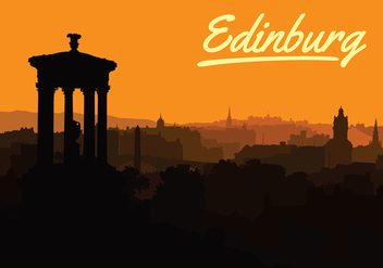 Free Sunset Over Edinburgh Vector - бесплатный vector #428663