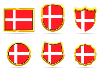 Golden Frame Denmark Flag Badge Vectors - vector gratuit #428673