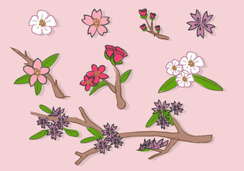 Peach Flowers Blossom Doodle Illustration Vector - Free vector #428833