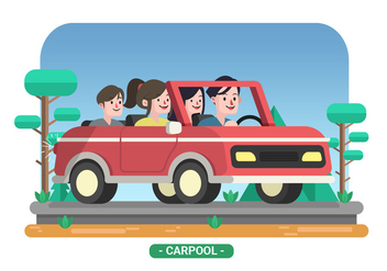Family Carpool Vector Illustration - Free vector #428893