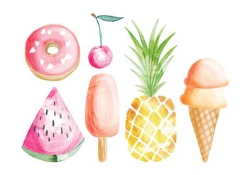 Vector Hand Painted Summer Food Elements - vector gratuit #428993