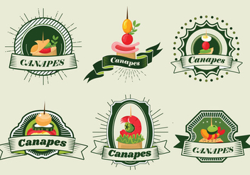 Canapes Food Banner Label Cafe Vector - Kostenloses vector #429063