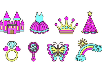 Set Of Princesa Icons - vector #429073 gratis