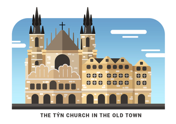 Prague Landmark Tyn Church Vector Illustration - Free vector #429123