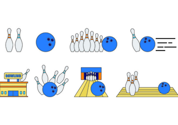 Set Of Bowling Icons - vector #429153 gratis