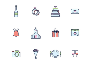 Simple Outlined Wedding Icons - vector gratuit #429163