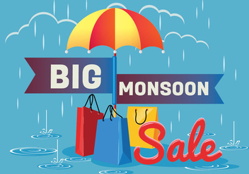 Sale Poster for Monsoon Season with Rain Drops with Shopping bag and Umbrella - Free vector #429193