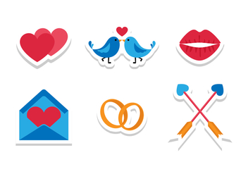 Bright Flat Wedding Icons - vector gratuit #429203