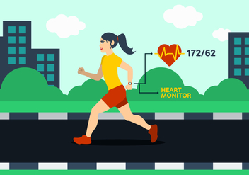 Running Woman Illustration - Free vector #429223
