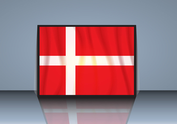 Flag of Denmark with Shadow Vector - бесплатный vector #429283