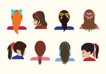 Girls with Hair Ribbon Vectors - Free vector #429313