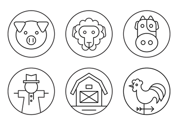 Minimal Farm Icons in Outline Style - vector gratuit #429373
