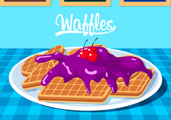 Waffles With Blueberry Jam Free Vector - vector gratuit #429383