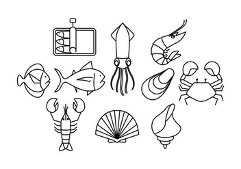 Free Seafood Line Icon Vector - Free vector #429393