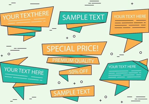 Free Vector Origami Sale Ribbons - Kostenloses vector #429483