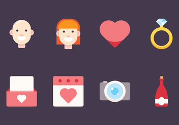 Wedding Flat Icons - Free vector #429543