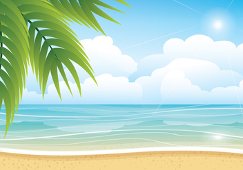 Tropical Summer Beach Vector Background - vector gratuit #429563