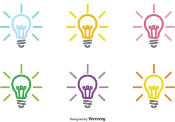 Vector Set Of Colorful Bulb Icon - Free vector #429853